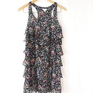 Xhilaration Black Floral Print Tank Ruffle Dress S